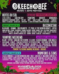Okeechobee Music & Arts Festival 2020 4 Day GA Pass Wristband March 5 8
