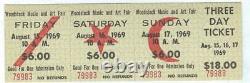Original WOODSTOCK Rock Music Festival Fair Aug 1969 3-Day Pass Advance Ticket