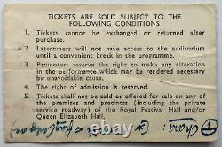 Pink Floyd Original Used Concert Ticket Royal Festival Hall London 14th Apr 1969