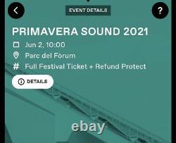 Primavera Sound Barcelona June 2021 Music Festival Full 4-day Pass Ticket