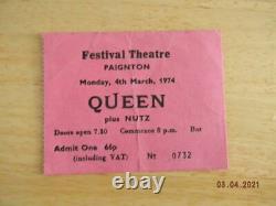 Queen Ticket Festival Theatre Paignton Monday 4th March 1974