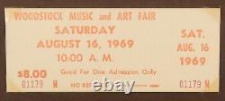RARE Authentic 1969 Woodstock Music Festival Concert UNUSED Ticket with COA NR