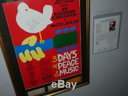 RICHIE HAVENS SIGNED JSA #Z46463 WOODSTOCK POSTER With3 ORIGINAL FESTIVAL TICKETS