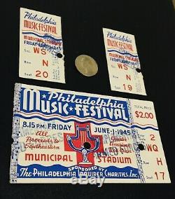 Rare 1st Annual 1945 Philadelphia Music Festival Ticket Stubs (Military Tickets)