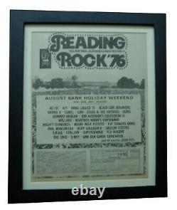 Reading Festival+rock+1976+poster+ad+framed+original+express+global Ship+tickets