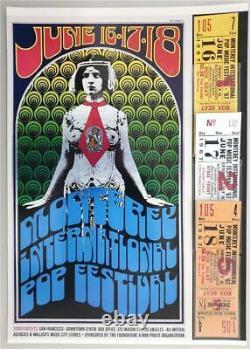 Repro CONCERT TICKET / POSTER COMBO MONTEREY INTERNATIONAL POP FESTIVAL 1967