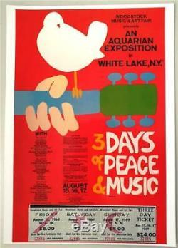 Repro CONCERT TICKET / POSTER COMBO WOODSTOCK Music Festival & Art Fair 1969