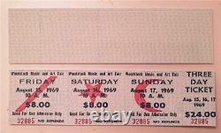 Repro CONCERT TICKET WOODSTOCK Music Festival & Art Fair 15/16/17 AUGUST 1969