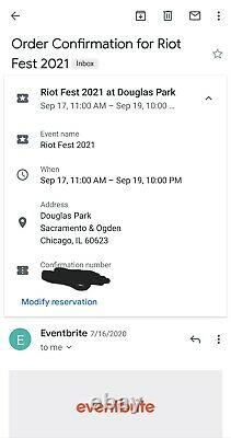 Riot Fest 2021 ONE 3-Day GA Ticket Chicago Music Festival SOLD OUT