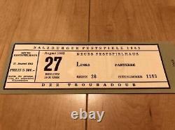 Salzburg Festival 1963 Brochure With Half-Ticket 8/27 Verdi Opera Trovatore