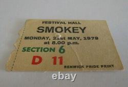 Smokey/Smokie Concert Ticket Festival Hall, Melbourne Alice, Needles 1979