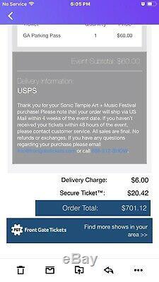 Sonic Temple Music & Arts Festival GA Weekend Tickets