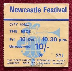 THE NICE Newcastle Festival 10th October 1969 VERY RARE ticket