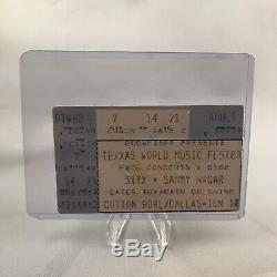Texxas World Music Festival Styx Hagar Dallas Concert Ticket Stub Vintage 1983