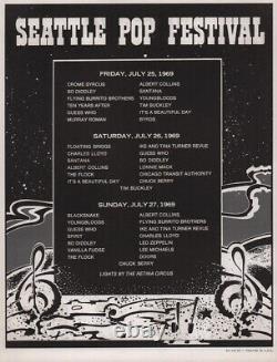 The Doors / Led Zeppelin 1969 Seattle Pop Festival Handbill And Unused Ticket