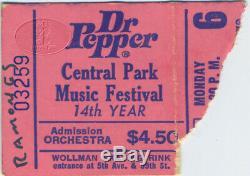 The RAMONES 1980 Concert Ticket Stub Dr. Pepper Central Park Music Festival