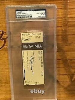 Tony Bennett autographed 2008 Ravinia Festival ticket PSA DNA Certified