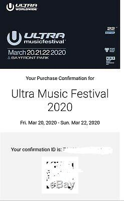 Ultra Music Festival Miami 2020 3 day weekend wristband (1 ticket available)