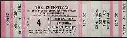 Us Festival 1982 Full & Unused Concert Ticket Tom Petty, The Kinks, The Cars