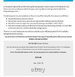VIP 30 AMP Power VIP RV Camping Pass Ticket Bonnaroo Music & Arts Festival 2021