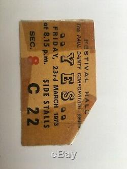 Very Rare Yes Concert Ticket From Australia Melbourne Festival Hall 23/3/73