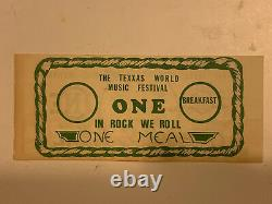 Vintage ORIGINAL 1978 Texxas World Music Festival Official Meal Ticket Very RARE