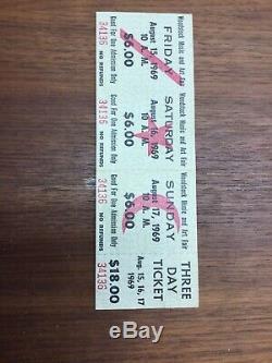 WOODSTOCK MUSIC & ART FESTIVAL three day Pass Concert Ticket 1969