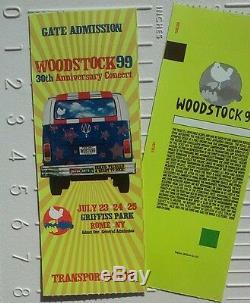 Woodstock'99 Music Festival concert ticket (Unused MINT Condition!) RARE New
