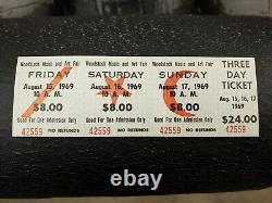 Woodstock Festival 1969 3 Day Ticket NM Hendrix Janis Grateful Dead Music Gift
