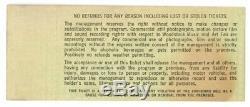 Woodstock Music Festival Concert Ticket Saturday 8/16/1969