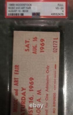 Woodstock Music Festival Concert Ticket Saturday 8/16/1969 PSA 4 VG-EX