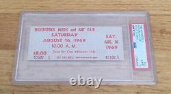 Woodstock Music Festival Original Beige Saturday 1969 Ticket PSA 10 Slabbed RARE