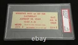 Woodstock Music Festival Original Green Saturday 1969 Ticket PSA 10 Slabbed RARE