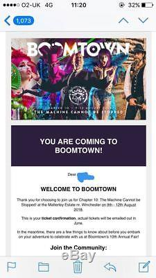 X1 BOOMTOWN Festival Chapter 10 Weekend TICKETS 9th-12th August 2018 with Eco